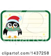 Clipart Of A Christmas Penguin Tag Or Label With Text Space Royalty Free Vector Illustration