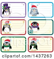 Clipart Of Christmas Penguin Tags Or Labels With Text Space Royalty Free Vector Illustration