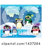 Clipart Of Winter Penguins On A Beach Royalty Free Vector Illustration