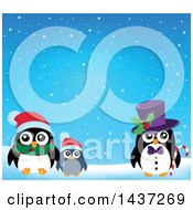 Clipart Of A Christmas Penguin Family In The Snow Royalty Free Vector Illustration