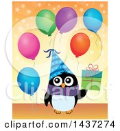 Clipart Of A Party Penguin Holding A Gift Royalty Free Vector Illustration