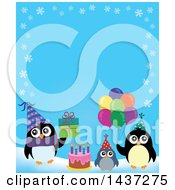 Clipart Of Party Penguins Border With A Gift Cake And Balloons Royalty Free Vector Illustration by visekart