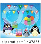 Clipart Of Party Penguins With A Gift Cake And Balloons Royalty Free Vector Illustration