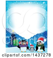 Christmas Penguin Family With A Border Of Snowflakes And Mountains