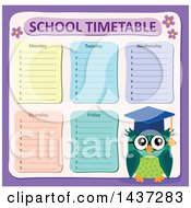 Professor Owl With A School Timetable