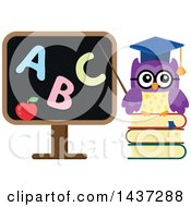 Clipart Of A Professor Owl Pointing To An Abc Black Board Royalty Free Vector Illustration by visekart