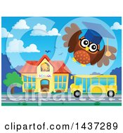 Clipart Of A Professor Owl Flying Over A Bus And School Royalty Free Vector Illustration