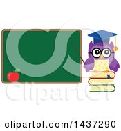 Clipart Of A Professor Owl On Books Pointing To A Chalk Board Royalty Free Vector Illustration by visekart