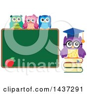 Clipart Of A Professor Owl On Books Pointing To A Chalk Board With Students On Top Royalty Free Vector Illustration by visekart