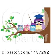 Clipart Of A Professor Owl On A Branch With Students Royalty Free Vector Illustration by visekart
