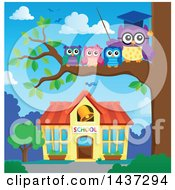 Clipart Of A Professor Owl On A Branch With Students Over A School Royalty Free Vector Illustration