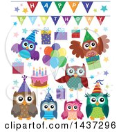 Clipart Of Party Owls Royalty Free Vector Illustration