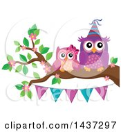 Clipart Of Party Owls On A Spring Branch With A Bunting Banner Royalty Free Vector Illustration by visekart