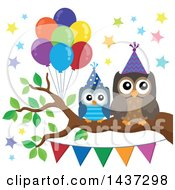 Clipart Of Party Owls On A Branch With Balloons And A Bunting Banner Royalty Free Vector Illustration by visekart