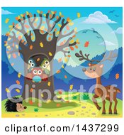 Clipart Of A Fall Tree With A Family Of Owls Hedgehog And Deer Royalty Free Vector Illustration by visekart