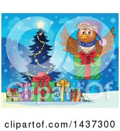 Clipart Of A Christmas Owl Flying With A Present Over A Tree And Gifts Royalty Free Vector Illustration