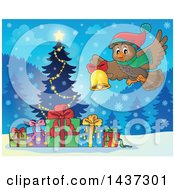 Clipart Of A Christmas Owl Flying With A Bell Over A Tree And Gifts Royalty Free Vector Illustration