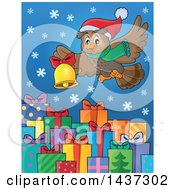 Clipart Of A Christmas Owl Flying With A Bell Over Gifts Royalty Free Vector Illustration