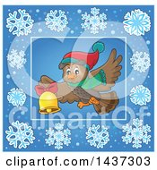 Clipart Of A Christmas Owl Inside A Blue Snowflake Frame Royalty Free Vector Illustration