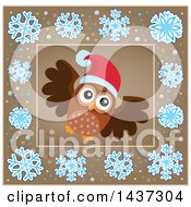 Clipart Of A Christmas Owl Inside A Brown Snowflake Frame Royalty Free Vector Illustration