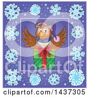 Clipart Of A Christmas Owl Inside A Purple Snowflake Frame Royalty Free Vector Illustration