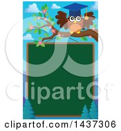 Clipart Of A Professor Owl On A Branch Over A Chalk Board Royalty Free Vector Illustration by visekart