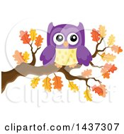 Clipart Of A Purple Owl On An Autumn Oak Branch Royalty Free Vector Illustration