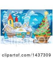 Clipart Of A Christmas Village With A Tree In A Sleigh Royalty Free Vector Illustration