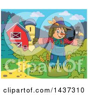 Clipart Of A Crow Bird On A Scarecrow In A Barnyard Royalty Free Vector Illustration by visekart