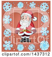 Clipart Of Santa Inside A Snowflake Frame Royalty Free Vector Illustration