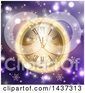 Clipart Of A New Year Count Down To Midnight Clock Glowing Over Purple With Flares And Stars Royalty Free Vector Illustration