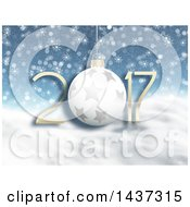 Clipart Of A 3d Starry Bauble In New Year 2017 Numbers Over Snowflakes And Snow Royalty Free Illustration