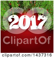 Clipart Of A Suspended New Year 2017 Numbers From Tree Branches Over Red Royalty Free Vector Illustration