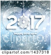 Clipart Of A Happy New Year 2017 Greeting Over Blue Stars And Bokeh Royalty Free Illustration