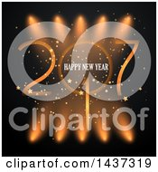 Clipart Of A Happy New Year 2017 Greeting With Spotlights On Black Royalty Free Vector Illustration