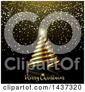 Clipart Of A Gold Ribbon Spiral Christmas Tree With A Shining Star Over Text On Black With Glitter Stars Royalty Free Vector Illustration by KJ Pargeter