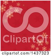 Clipart Of A Christmas Background With Gold Winter Snowflakes On Red Royalty Free Vector Illustration by KJ Pargeter