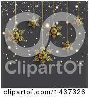 Clipart Of A Background Of Suspended Golden Snowflakes And Flares Over Gray Royalty Free Vector Illustration by KJ Pargeter