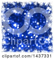 Clipart Of A Grungy White Snowflake Christmas Border Over Blue Glitter Royalty Free Illustration