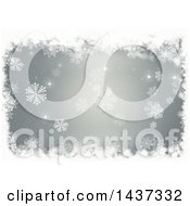 Clipart Of A Grungy White Snowflake Christmas Border Over Gray Royalty Free Illustration