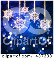 Clipart Of A Blue Christmas Flare Background With Suspended Sparkle Snowflakes Royalty Free Illustration