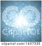 Clipart Of A Christmas Burst Background With Snowflakes And Flares Royalty Free Vector Illustration