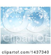 Clipart Of A 3d Winter Landscape Of Snow Covered Hills And Blue Sky Royalty Free Illustration