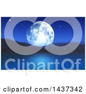 Clipart Of A 3d Winter Night Landscape Of A Full Moon Mountains And Still Lake With Snow Royalty Free Illustration by KJ Pargeter