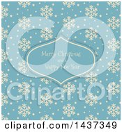 Clipart Of A Merry Christmas And A Happy New Year Greeting In A Frame Over A Retro Beige And Blue Snowflake Pattern Royalty Free Vector Illustration