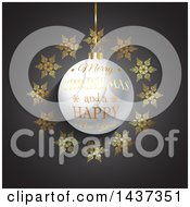 Clipart Of A Merry Christmas And A Happy New Year Greeting On A 3d Bauble In A Frame Of Gold Snowflakes Over Gray Royalty Free Vector Illustration