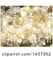 Clipart Of A Gold Bokeh Flares And Star Background Royalty Free Illustration