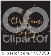 Clipart Of A Merry Christmas And A Happy New Year Greeting Over Bokeh Flares On Black Royalty Free Vector Illustration