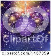 Clipart Of A Merry Christmas And A Happy New Year Tag Hanging Over Bokeh Flares And Snowflakes On Purple Royalty Free Vector Illustration