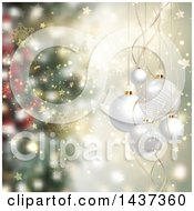 Clipart Of A Christmas Background With 3d Suspended White Baubles Over Blur Royalty Free Vector Illustration